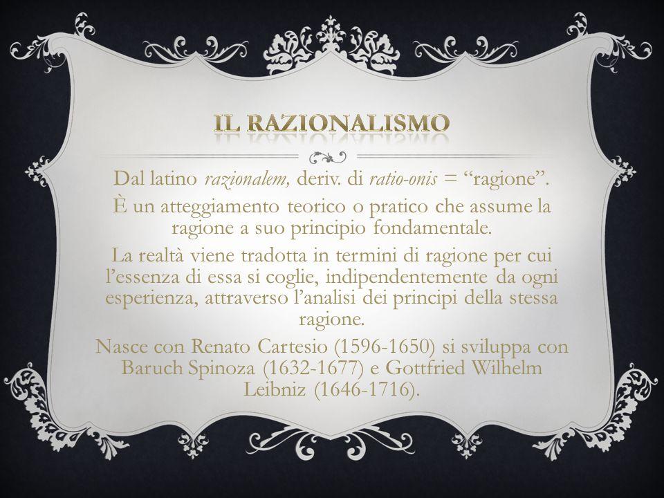 """Dal latino razionalem, deriv. di ratio-onis = """"ragione"""". È un atteggiamento teorico o pratico che assume la ragione a suo principio fondamentale. La r"""
