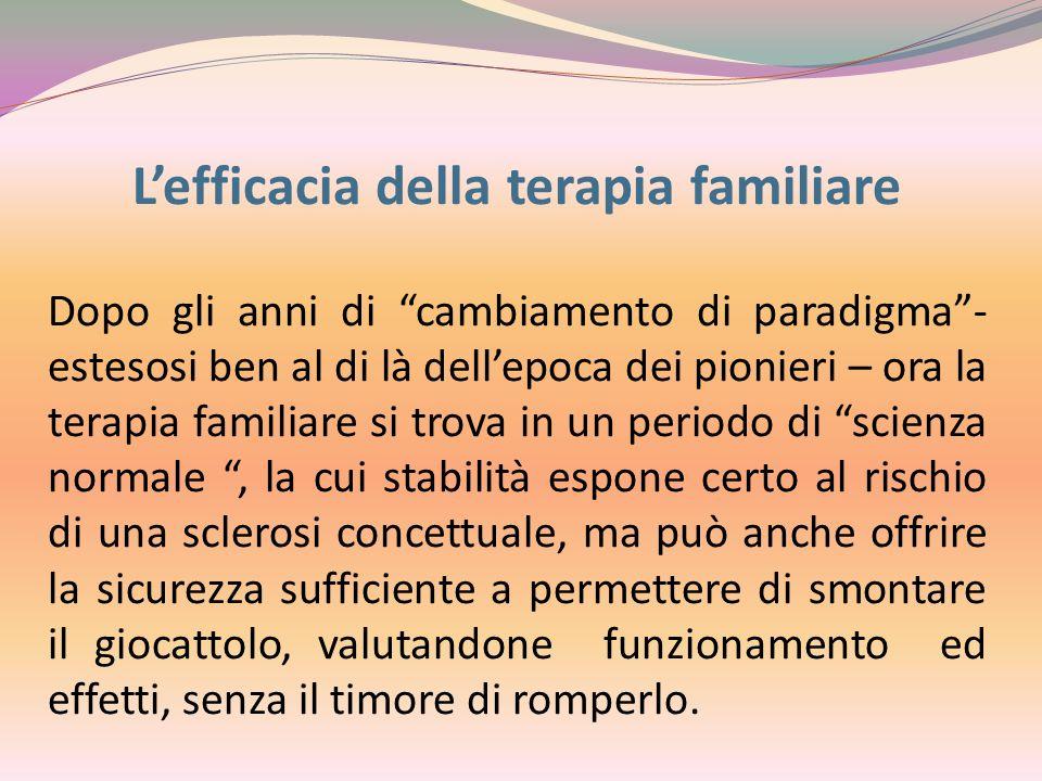 """L'efficacia della terapia familiare Dopo gli anni di """"cambiamento di paradigma""""- estesosi ben al di là dell'epoca dei pionieri – ora la terapia famili"""