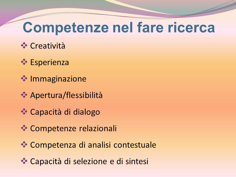 Competenze nel fare ricerca  Creatività  Esperienza  Immaginazione  Apertura/flessibilità  Capacità di dialogo  Competenze relazionali  Competenza di analisi contestuale  Capacità di selezione e di sintesi