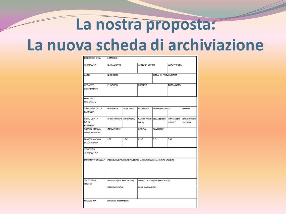La nostra proposta: La nuova scheda di archiviazione