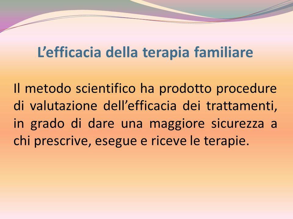 L'efficacia della terapia familiare Il metodo scientifico ha prodotto procedure di valutazione dell'efficacia dei trattamenti, in grado di dare una ma