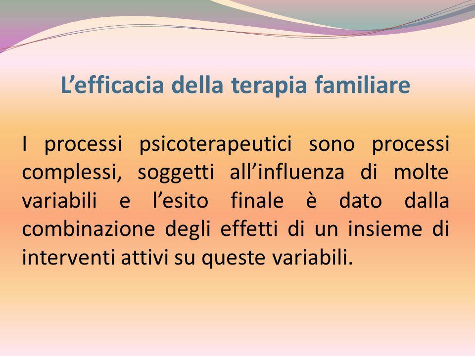 L'efficacia della terapia familiare I processi psicoterapeutici sono processi complessi, soggetti all'influenza di molte variabili e l'esito finale è dato dalla combinazione degli effetti di un insieme di interventi attivi su queste variabili.