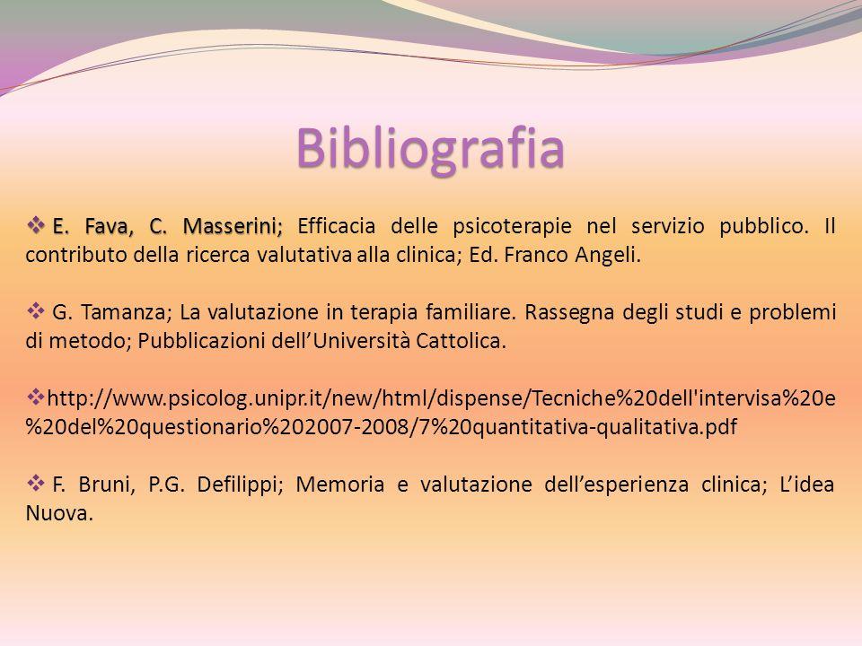 Bibliografia  E. Fava, C. Masserini;  E. Fava, C. Masserini; Efficacia delle psicoterapie nel servizio pubblico. Il contributo della ricerca valutat