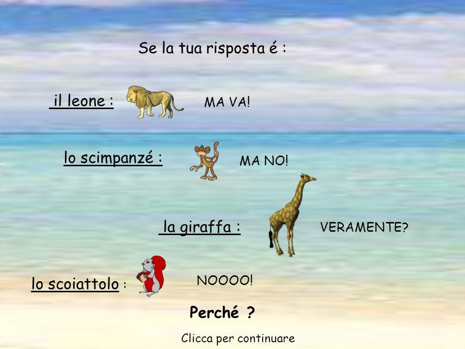 NOOOO.il leone : MA VA. Se la tua risposta é : lo scimpanzé : MA NO.