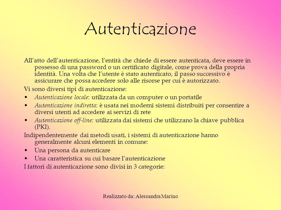 Realizzato da: Alessandra Marino Autenticazione All'atto dell'autenticazione, l'entità che chiede di essere autenticata, deve essere in possesso di una password o un certificato digitale, come prova della propria identità.