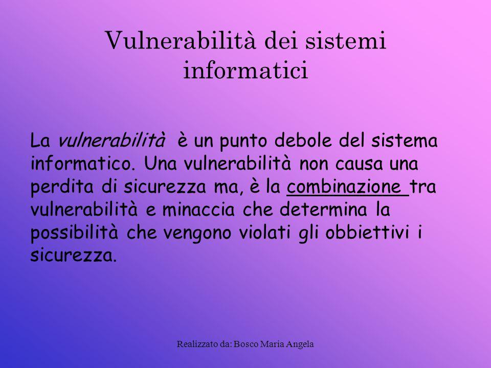 Realizzato da: Bosco Maria Angela Minacce alla sicurezza Una minaccia è un azione:potenziale,deliberata.Essa può essere classificata:naturale,ambientale,umana.