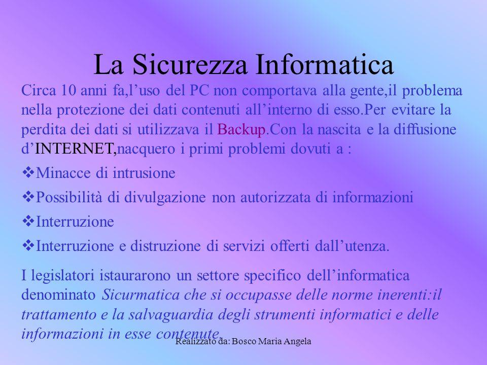 Realizzato da: Bosco Maria Angela Vulnerabilità dei sistemi informatici La vulnerabilità è un punto debole del sistema informatico.
