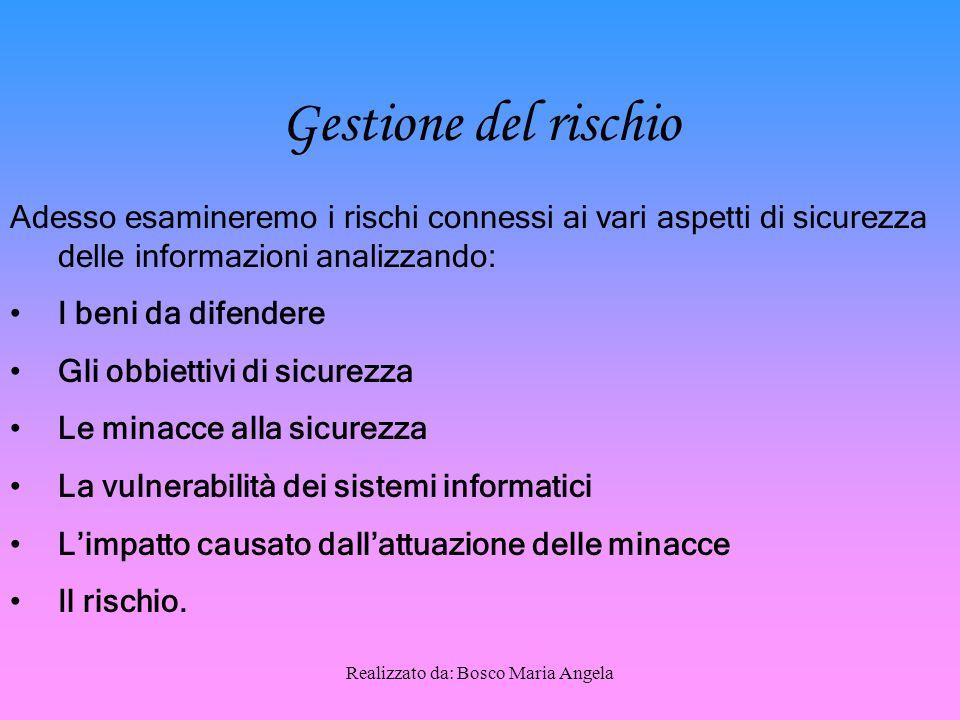 Realizzato da: Bosco Maria Angela La Riservatezza La riservatezza consiste nel limitare l'accesso alle informazioni e alle risorse informatiche alle sole persone autorizzate.