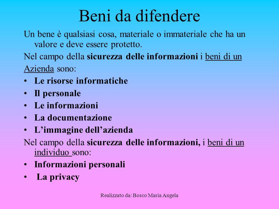 Realizzato da: Bosco Maria Angela Beni da difendere Un bene è qualsiasi cosa, materiale o immateriale che ha un valore e deve essere protetto.