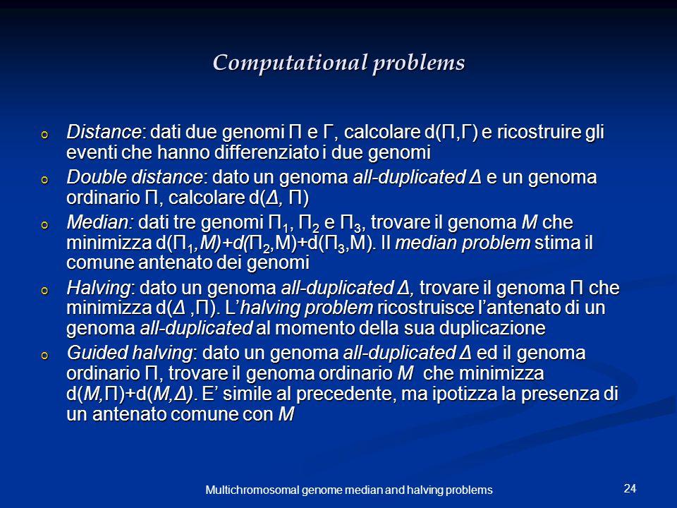 24 Multichromosomal genome median and halving problems Computational problems o Distance: dati due genomi Π e Γ, calcolare d(Π,Γ) e ricostruire gli eventi che hanno differenziato i due genomi o Double distance: dato un genoma all-duplicated Δ e un genoma ordinario Π, calcolare d(Δ, Π) o Median: dati tre genomi Π 1, Π 2 e Π 3, trovare il genoma M che minimizza d(Π 1,M)+d(Π 2,M)+d(Π 3,M).