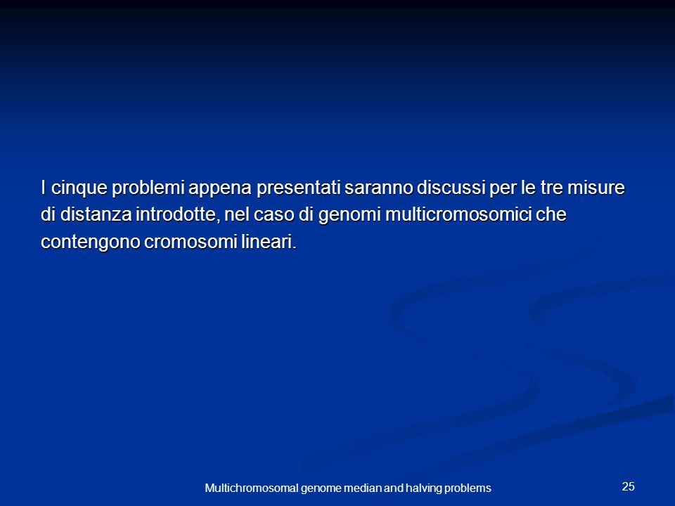25 Multichromosomal genome median and halving problems I cinque problemi appena presentati saranno discussi per le tre misure di distanza introdotte, nel caso di genomi multicromosomici che contengono cromosomi lineari.