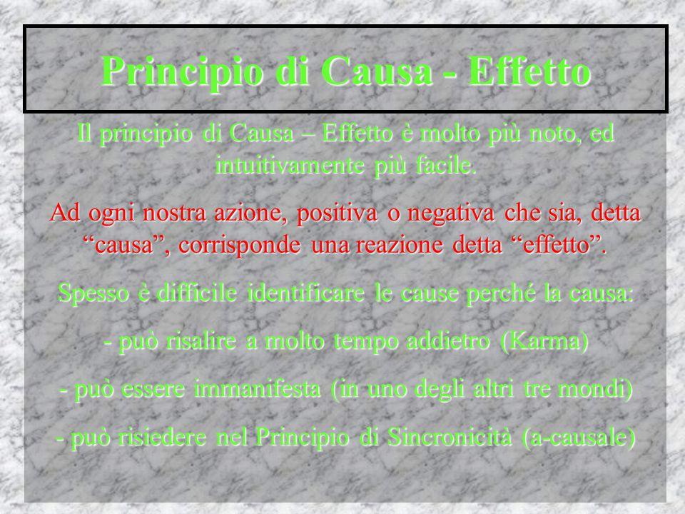Principio di Causa - Effetto Il principio di Causa – Effetto è molto più noto, ed intuitivamente più facile.
