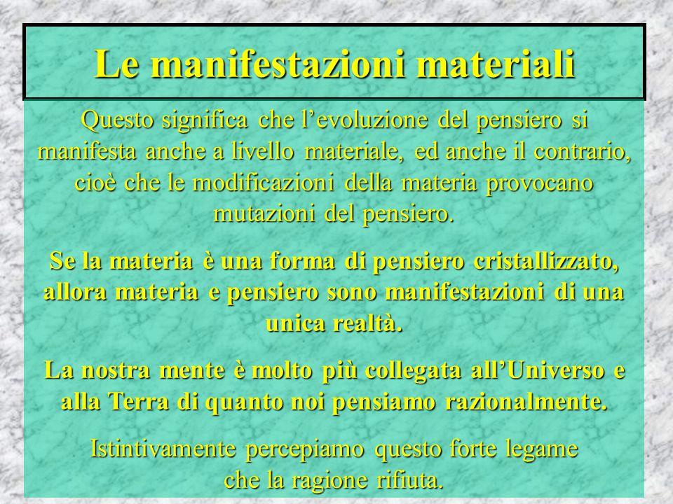 Le manifestazioni materiali Questo significa che l'evoluzione del pensiero si manifesta anche a livello materiale, ed anche il contrario, cioè che le modificazioni della materia provocano mutazioni del pensiero.