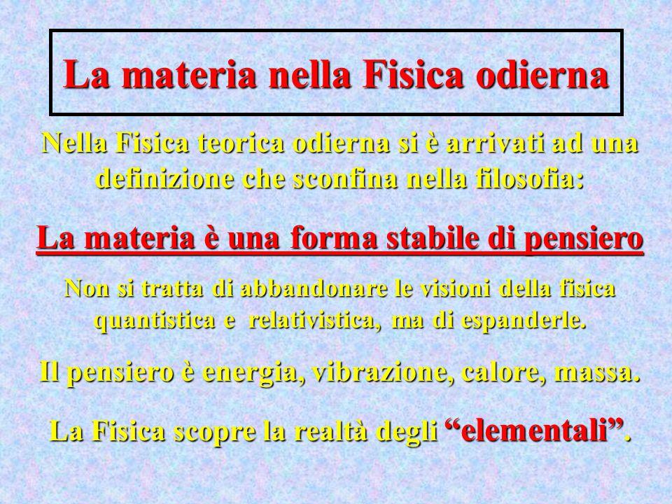 La materia nella Fisica odierna Nella Fisica teorica odierna si è arrivati ad una definizione che sconfina nella filosofia: La materia è una forma sta