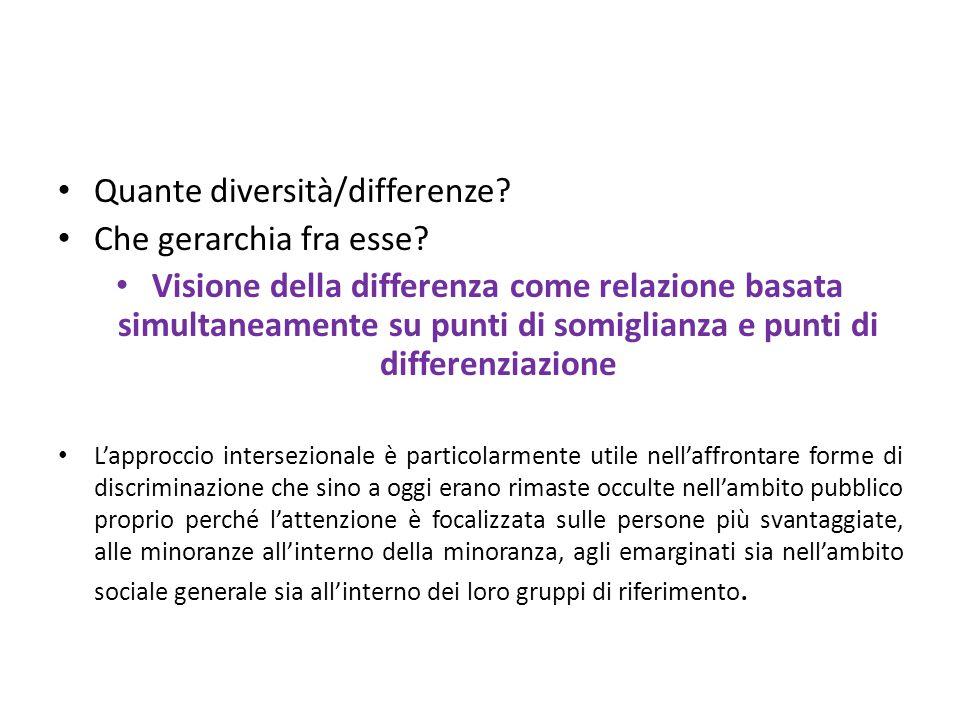 Quante diversità/differenze? Che gerarchia fra esse? Visione della differenza come relazione basata simultaneamente su punti di somiglianza e punti di
