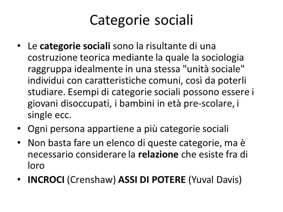 Categorie sociali Le categorie sociali sono la risultante di una costruzione teorica mediante la quale la sociologia raggruppa idealmente in una stess