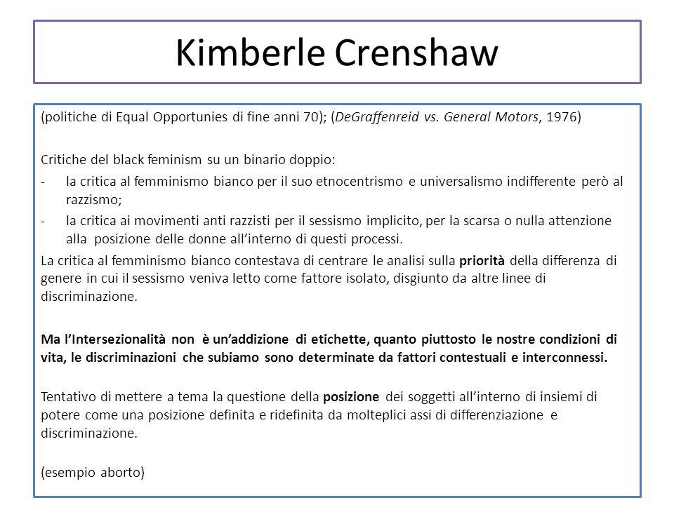 Kimberle Crenshaw (politiche di Equal Opportunies di fine anni 70); (DeGraffenreid vs. General Motors, 1976) Critiche del black feminism su un binario