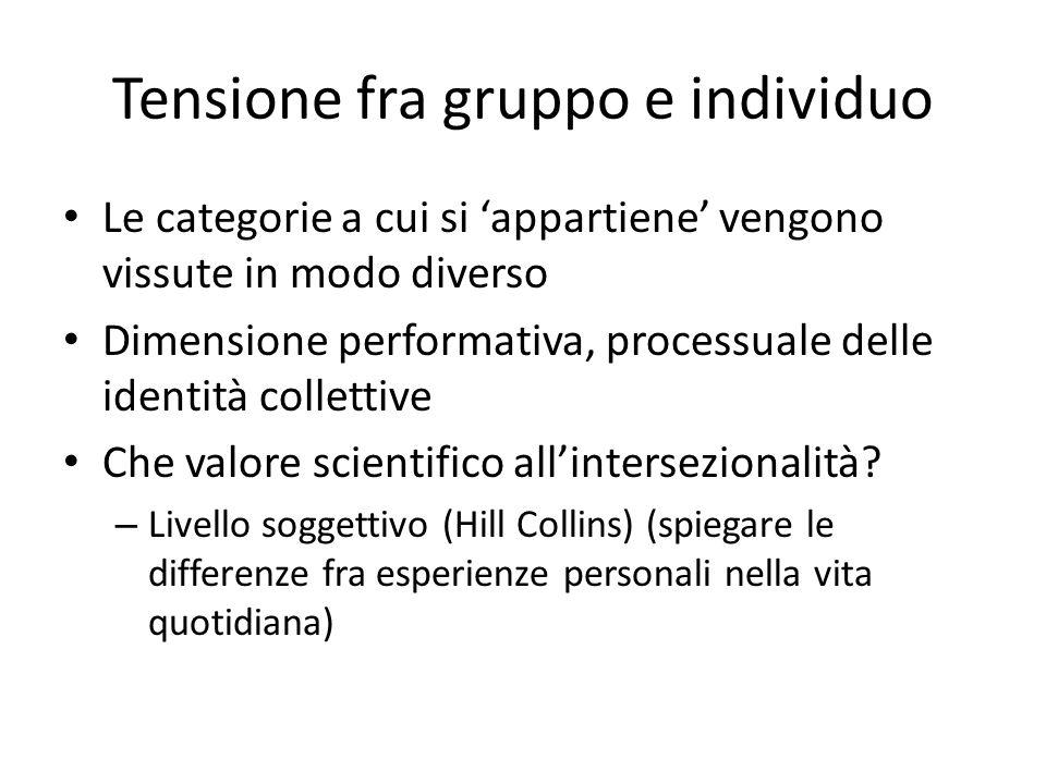 Tensione fra gruppo e individuo Le categorie a cui si 'appartiene' vengono vissute in modo diverso Dimensione performativa, processuale delle identità