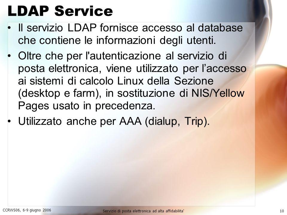 CCRWS06, 6-9 giugno 2006 Servizio di posta elettronica ad alta affidabilita 10 LDAP Service Il servizio LDAP fornisce accesso al database che contiene le informazioni degli utenti.