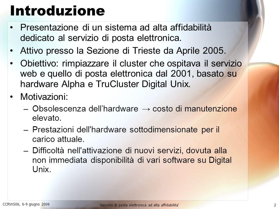 CCRWS06, 6-9 giugno 2006 Servizio di posta elettronica ad alta affidabilita 2 Introduzione Presentazione di un sistema ad alta affidabilità dedicato al servizio di posta elettronica.