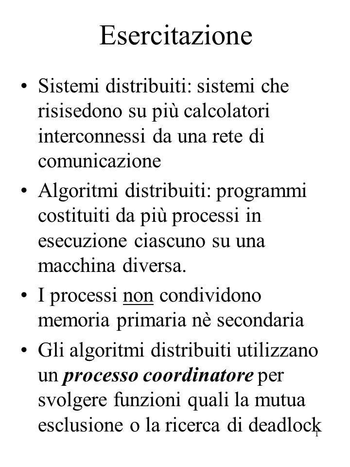 1 Esercitazione Sistemi distribuiti: sistemi che risisedono su più calcolatori interconnessi da una rete di comunicazione Algoritmi distribuiti: programmi costituiti da più processi in esecuzione ciascuno su una macchina diversa.
