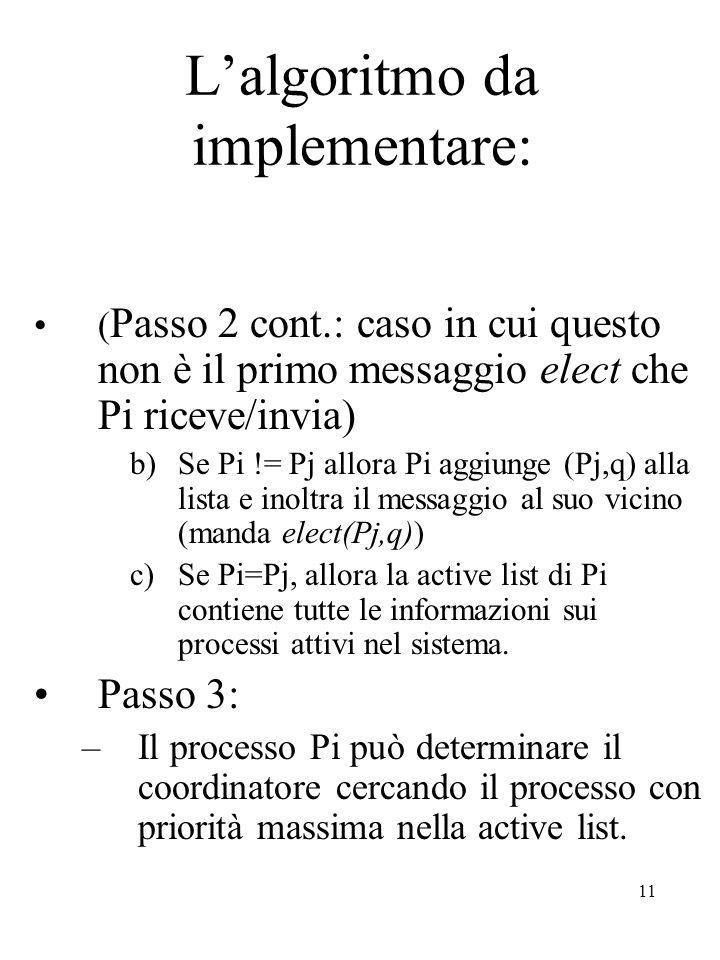 11 L'algoritmo da implementare: ( Passo 2 cont.: caso in cui questo non è il primo messaggio elect che Pi riceve/invia) b)Se Pi != Pj allora Pi aggiunge (Pj,q) alla lista e inoltra il messaggio al suo vicino (manda elect(Pj,q)) c)Se Pi=Pj, allora la active list di Pi contiene tutte le informazioni sui processi attivi nel sistema.