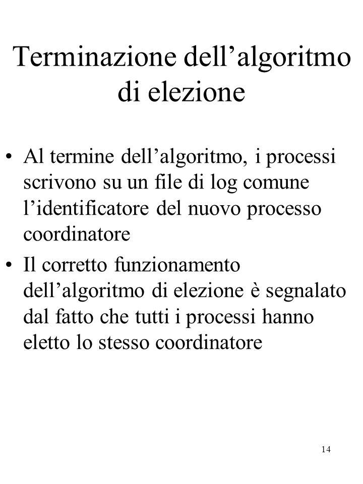 14 Terminazione dell'algoritmo di elezione Al termine dell'algoritmo, i processi scrivono su un file di log comune l'identificatore del nuovo processo coordinatore Il corretto funzionamento dell'algoritmo di elezione è segnalato dal fatto che tutti i processi hanno eletto lo stesso coordinatore