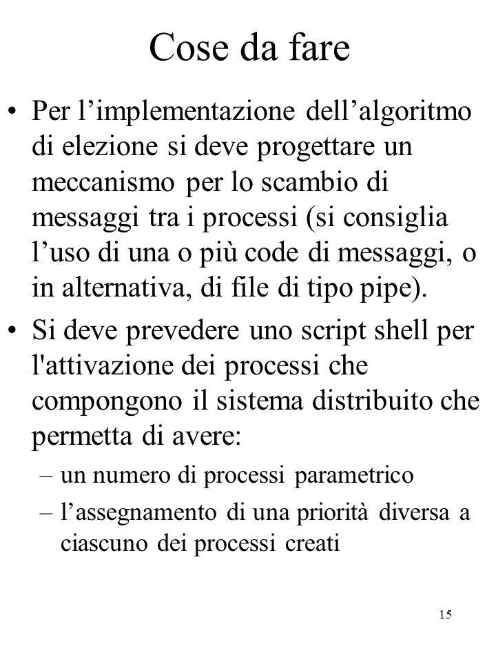 15 Cose da fare Per l'implementazione dell'algoritmo di elezione si deve progettare un meccanismo per lo scambio di messaggi tra i processi (si consiglia l'uso di una o più code di messaggi, o in alternativa, di file di tipo pipe).