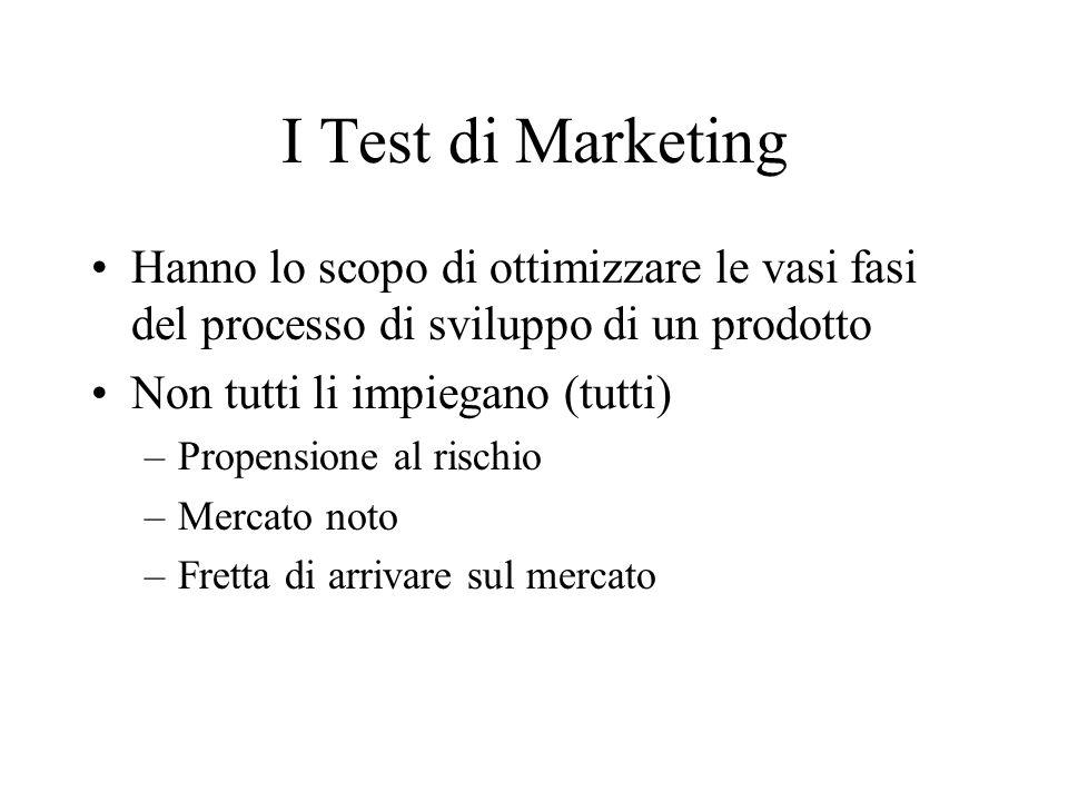 I Test di Marketing Hanno lo scopo di ottimizzare le vasi fasi del processo di sviluppo di un prodotto Non tutti li impiegano (tutti) –Propensione al rischio –Mercato noto –Fretta di arrivare sul mercato