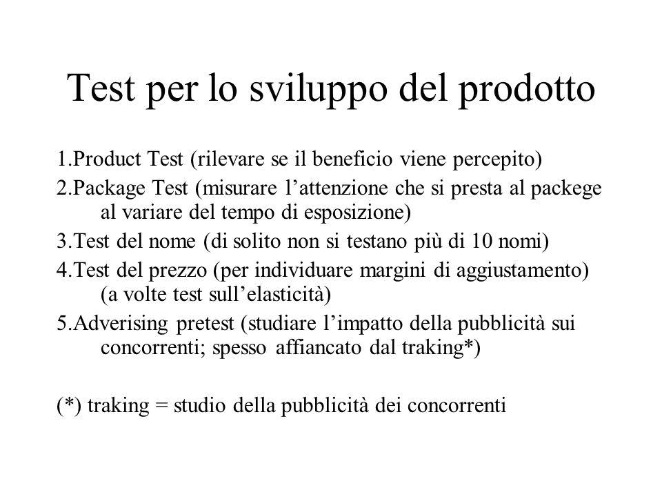 Test per lo sviluppo del prodotto 1.Product Test (rilevare se il beneficio viene percepito) 2.Package Test (misurare l'attenzione che si presta al packege al variare del tempo di esposizione) 3.Test del nome (di solito non si testano più di 10 nomi) 4.Test del prezzo (per individuare margini di aggiustamento) (a volte test sull'elasticità) 5.Adverising pretest (studiare l'impatto della pubblicità sui concorrenti; spesso affiancato dal traking*) (*) traking = studio della pubblicità dei concorrenti
