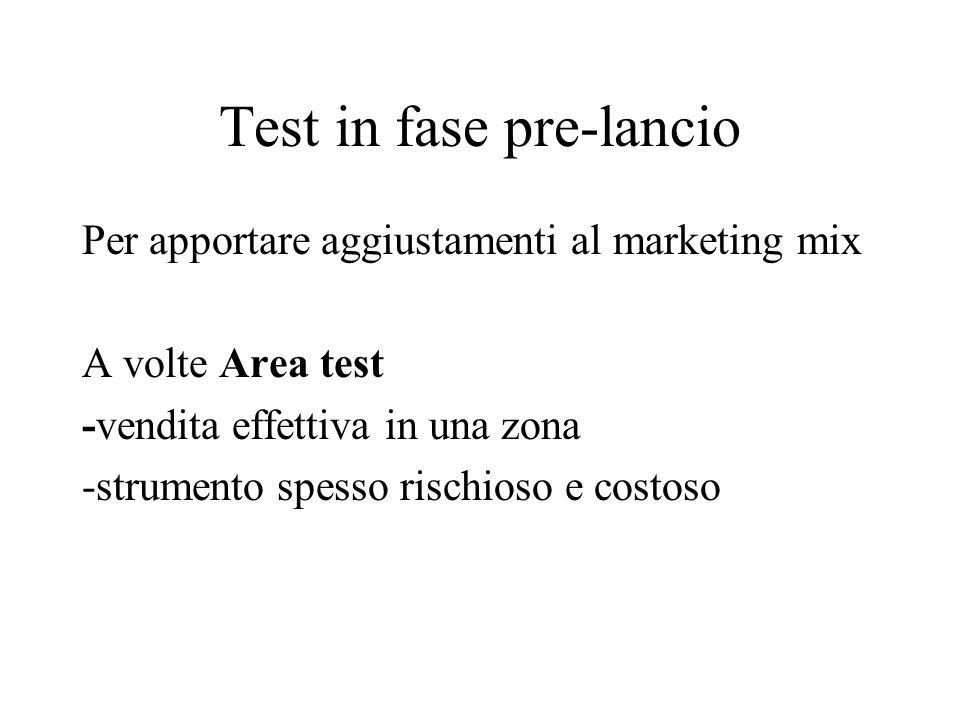 Test in fase pre-lancio Per apportare aggiustamenti al marketing mix A volte Area test -vendita effettiva in una zona -strumento spesso rischioso e costoso