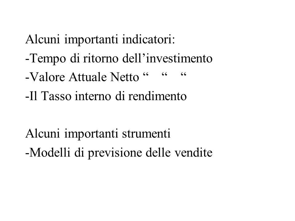 Alcuni importanti indicatori: -Tempo di ritorno dell'investimento -Valore Attuale Netto -Il Tasso interno di rendimento Alcuni importanti strumenti -Modelli di previsione delle vendite