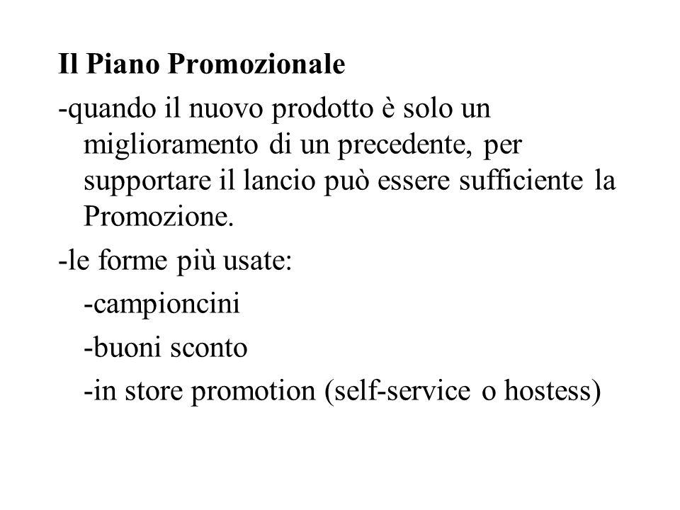 Il Piano Promozionale -quando il nuovo prodotto è solo un miglioramento di un precedente, per supportare il lancio può essere sufficiente la Promozione.