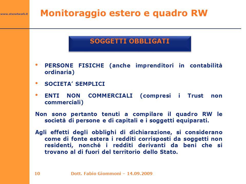 www.stsnetwork.it Monitoraggio estero e quadro RW SOGGETTI OBBLIGATI 10 PERSONE FISICHE (anche imprenditori in contabilità ordinaria) SOCIETA' SEMPLIC