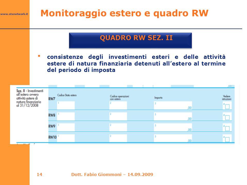 www.stsnetwork.it Monitoraggio estero e quadro RW QUADRO RW SEZ. II consistenze degli investimenti esteri e delle attività estere di natura finanziari
