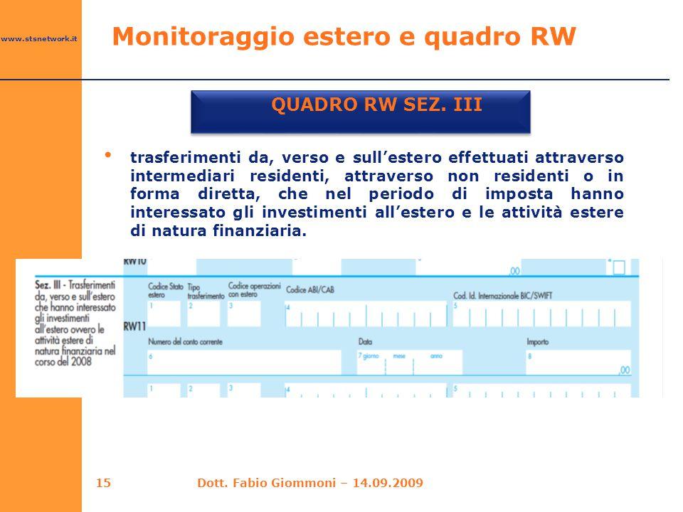 www.stsnetwork.it Monitoraggio estero e quadro RW QUADRO RW SEZ. III 15 trasferimenti da, verso e sull'estero effettuati attraverso intermediari resid