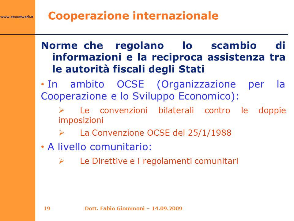 www.stsnetwork.it Norme che regolano lo scambio di informazioni e la reciproca assistenza tra le autorità fiscali degli Stati In ambito OCSE (Organizz