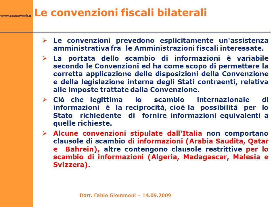 www.stsnetwork.it  Le convenzioni prevedono esplicitamente un'assistenza amministrativa fra le Amministrazioni fiscali interessate.  La portata dell