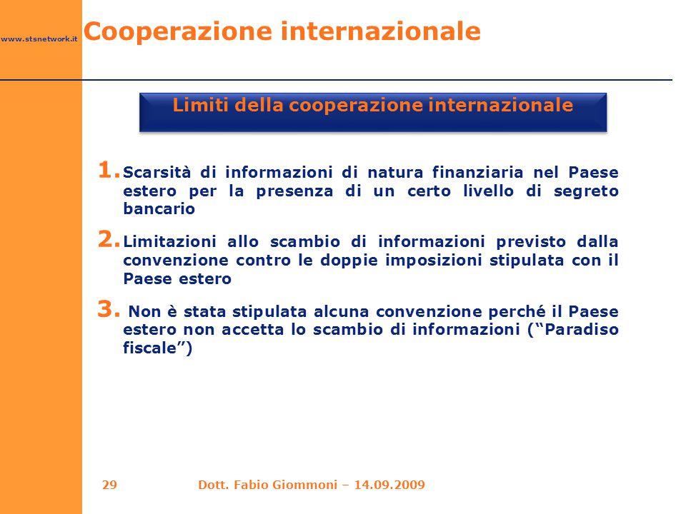 www.stsnetwork.it Limiti della cooperazione internazionale 1. Scarsità di informazioni di natura finanziaria nel Paese estero per la presenza di un ce