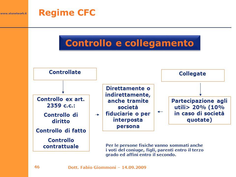 www.stsnetwork.it 46 Controllo e collegamento Regime CFC Dott. Fabio Giommoni – 14.09.2009 Controllate Collegate Controllo ex art. 2359 c.c.: Controll