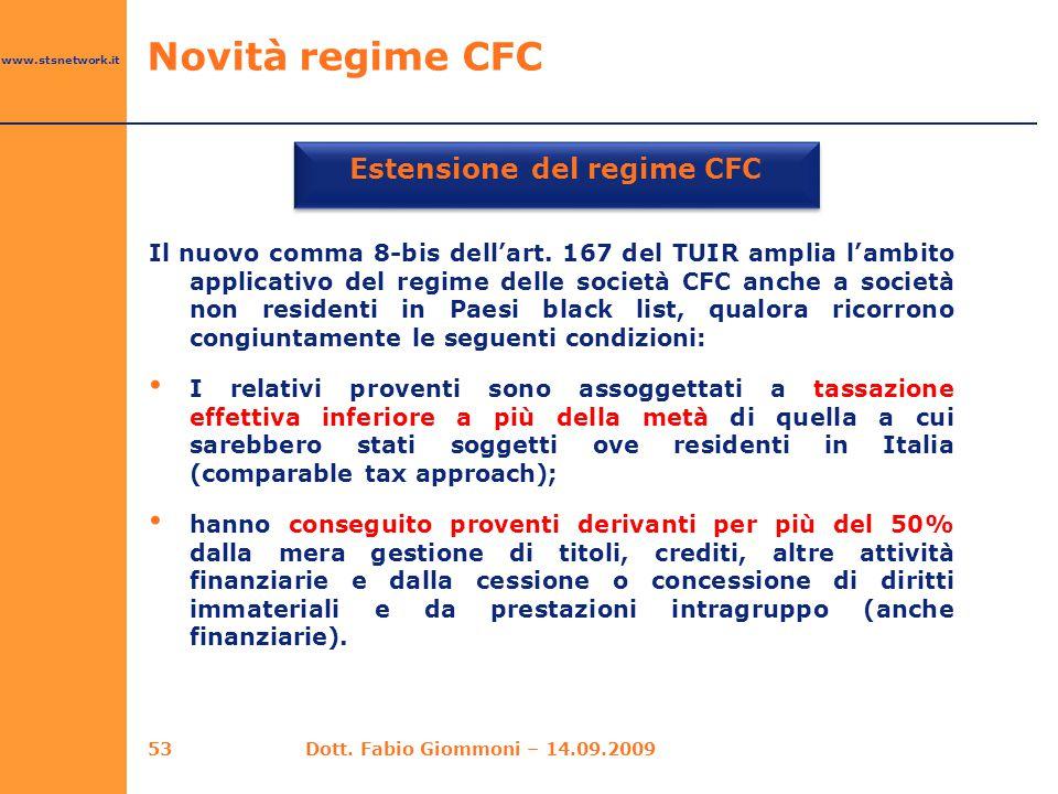 www.stsnetwork.it Estensione del regime CFC Il nuovo comma 8-bis dell'art. 167 del TUIR amplia l'ambito applicativo del regime delle società CFC anche