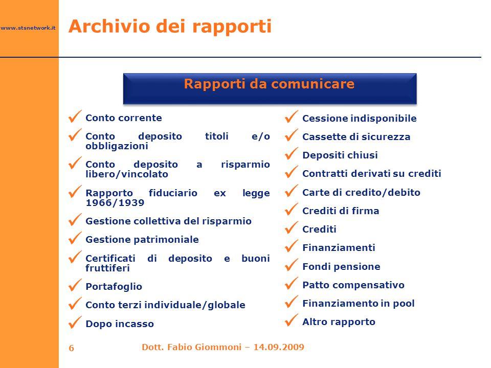 www.stsnetwork.it Archivio dei rapporti Rapporti da comunicare Conto corrente Conto deposito titoli e/o obbligazioni Conto deposito a risparmio libero