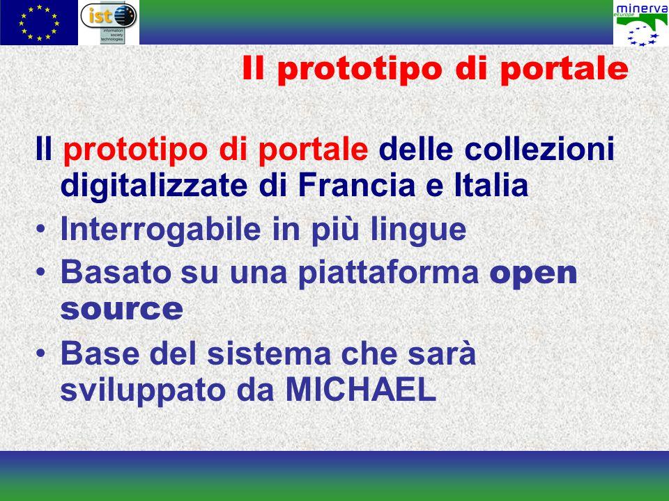 Il prototipo di portale Il prototipo di portale delle collezioni digitalizzate di Francia e Italia Interrogabile in più lingue Basato su una piattaforma open source Base del sistema che sarà sviluppato da MICHAEL