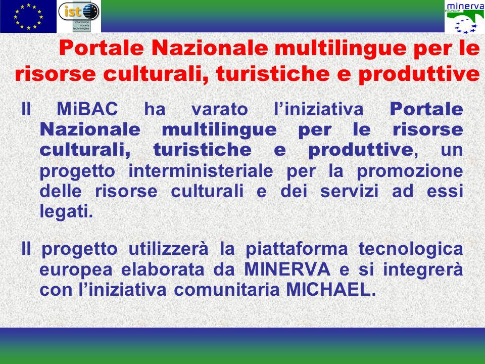 Portale Nazionale multilingue per le risorse culturali, turistiche e produttive Il MiBAC ha varato l'iniziativa Portale Nazionale multilingue per le risorse culturali, turistiche e produttive, un progetto interministeriale per la promozione delle risorse culturali e dei servizi ad essi legati.
