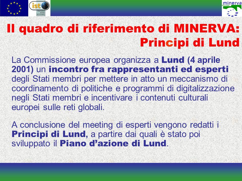 Il quadro di riferimento di MINERVA: Principi di Lund La Commissione europea organizza a Lund (4 aprile 2001) un incontro fra rappresentanti ed esperti degli Stati membri per mettere in atto un meccanismo di coordinamento di politiche e programmi di digitalizzazione negli Stati membri e incentivare i contenuti culturali europei sulle reti globali.