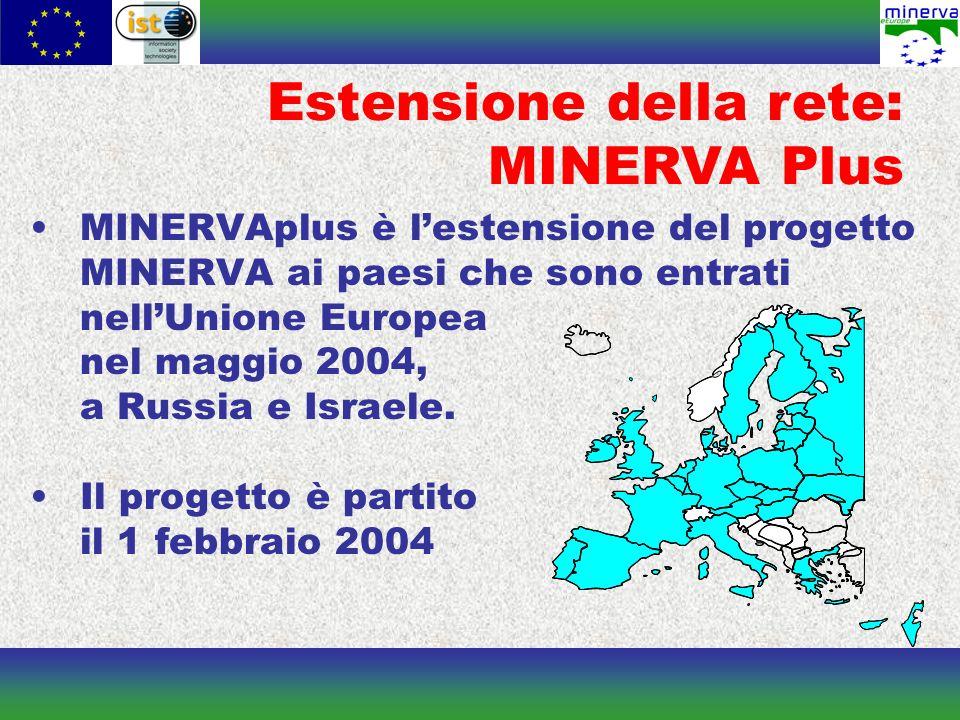 Estensione della rete: MINERVA Plus MINERVAplus è l'estensione del progetto MINERVA ai paesi che sono entrati nell'Unione Europea nel maggio 2004, a Russia e Israele.