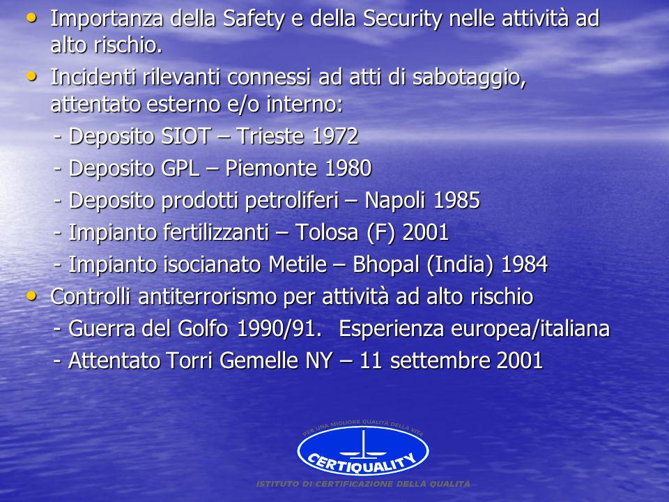 Importanza della Safety e della Security nelle attività ad alto rischio.