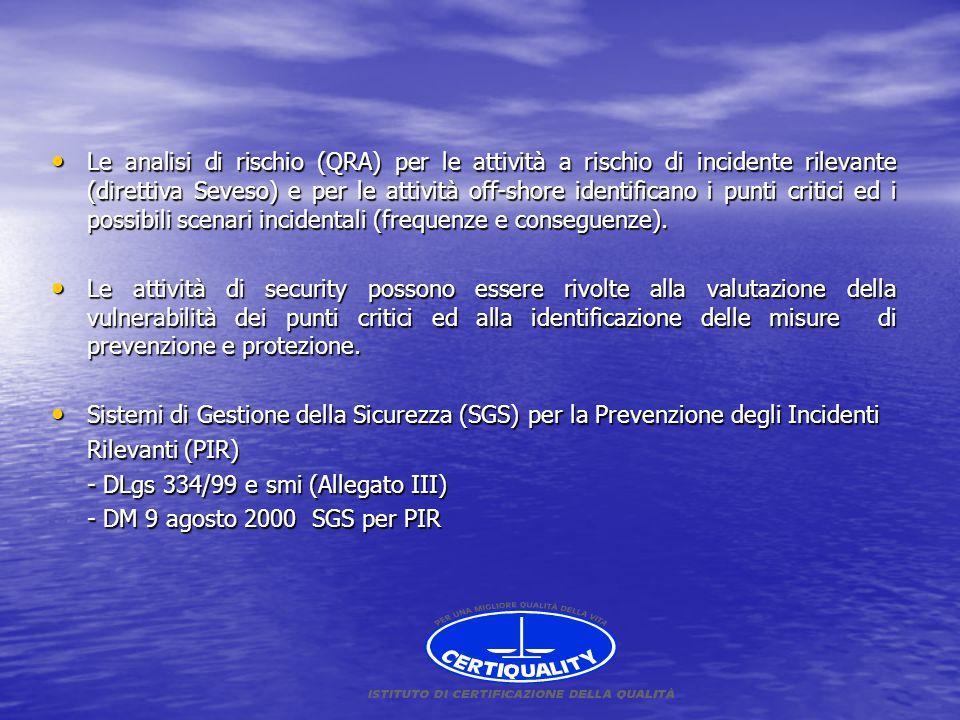 Le analisi di rischio (QRA) per le attività a rischio di incidente rilevante (direttiva Seveso) e per le attività off-shore identificano i punti critici ed i possibili scenari incidentali (frequenze e conseguenze).