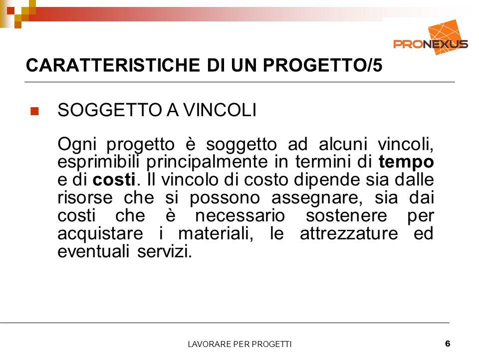 LAVORARE PER PROGETTI6 CARATTERISTICHE DI UN PROGETTO/5 SOGGETTO A VINCOLI Ogni progetto è soggetto ad alcuni vincoli, esprimibili principalmente in termini di tempo e di costi.