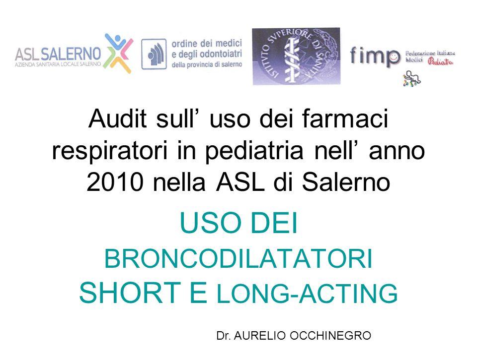 Audit sull' uso dei farmaci respiratori in pediatria nell' anno 2010 nella ASL di Salerno USO DEI BRONCODILATATORI SHORT E LONG-ACTING Dr. AURELIO OCC